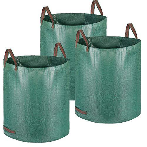 Alaskaprint 3X Gartenabfallsack Selbstaufstellend Gartensack Laubsack 272L aus robustem Polypropylen-Gewebe (PP) 150g/m² Laubsack Gartenkorb Wasserdichtes Material...