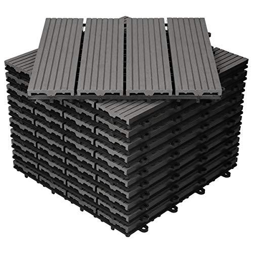 ECD Germany WPC Terrassenfliesen 30x30 cm 55er Spar Set für 5m² Anthrazit in Holzoptik für Garten Balkon Bodenbelag mit Drainage und Klicksystem Terrassendielen...