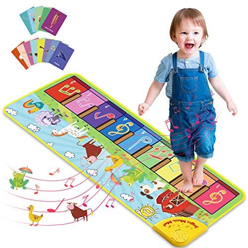 Joyjoz Piano Matte mit 25 Sounds, Baby Klaviermatte Tanzmatte Musikmatte, 7 Tierstimmen Musik Matte, Kinder Keyboard Spielteppich für Jungen Mädchen 1–5 Jahre...