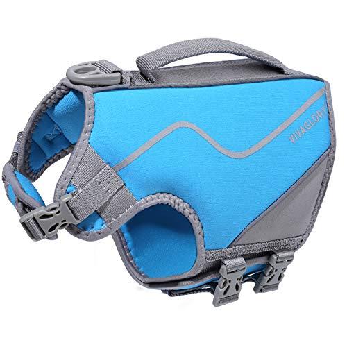 VIVAGLORY-pelastusliivi pienille koirille, ihoystävällinen neopreenistä valmistettu pelastusliivi, voimakas kelluvuus ja pelastuskahva, sininen, koko S