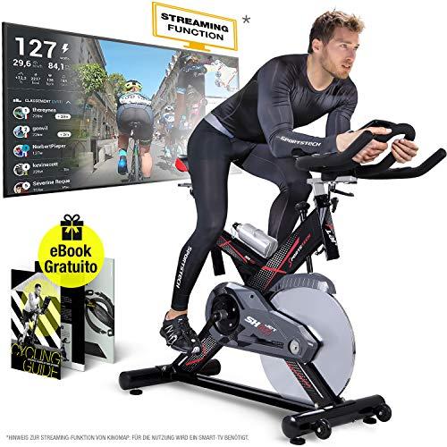 Sportstech Profi Indoor Cycle SX400 –Deutsche Qualitätsmarke-mit Video Events & Multiplayer APP, 22KG Schwungrad, Pulsgurt kompatibel-Speedbike mit leisem...