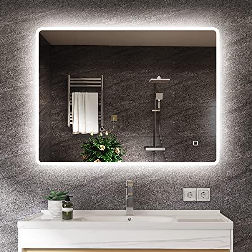 s'bagno 600 x 800 mm Badspiegel - LED beleuchteter Badezimmerspiegel [IP44 Rated] Rechteckiger Wandspiegel mit Hintergrundbeleuchtung und berührungslosem...
