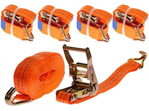 4 Stück 2000kg 6m Spanngurte mit Ratsche 2 teilig zweiteilig mit Haken Ratschengurt Zurrgurte orange 35mm 2000 daN 2t Industrie PLANET