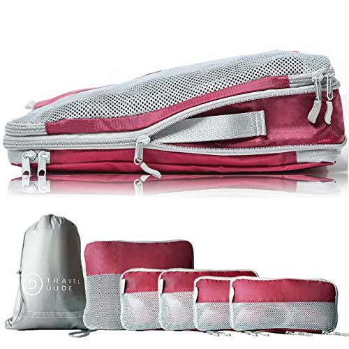TRAVEL DUDE Packwürfel Set mit Kompression   Packing Cubes   Packtaschen Set & Gepäck Organizer für Rucksack & Koffer   Extra leichte Kleidertaschen   Weinrot,...