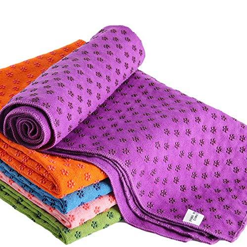 Ivy Yoga Handtuch rutschfest - Mikrofaser Yogatuch schnelltrocknend - Yogahandtuch Antirutsch ideal für Matte,Hot Yoga, 183 x 61 cm, Violett