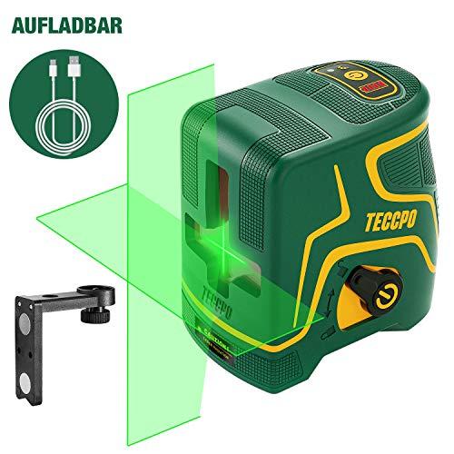 Kreuzlinienlaser Grün 30m TECCPO, USB Aufladung, Selbstnivellierenden und Pulsfunktion, Magnethalter, 120° Horizontal und Vertikal, 360° Drehbar, IP54,...