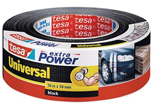tesa extra Power Universal Gewebeband - Gewebeverstärktes Ductape zum Reparieren, Befestigen, Bündeln, Verstärken oder Abdichten - Grau - 50 m x 50 mm