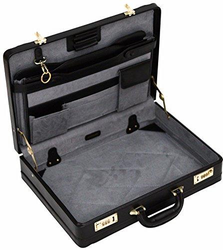 Aktenkoffer/Attachékoffer mit Dehnfalte - Luxuriöses Leder - Schwarz