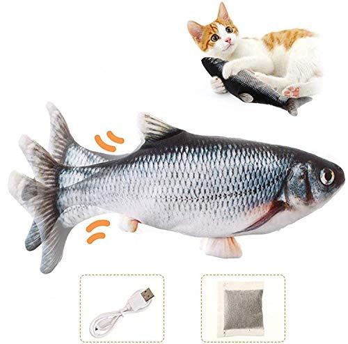 Charminer Katzenspielzeug Elektrische Fische, Katze Interaktive Spielzeug USB Elektrische Plüsch Fisch Spielzeug Fisch mit Katzenminze für Katze zu Spielen,...