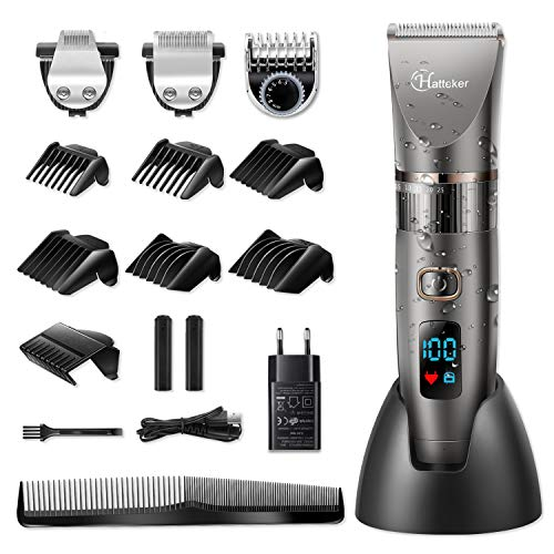 Hatteker Hair Clipper Professional Hair Trimmer Men's Hair Trimmer Beard Trimmer Beard Trimmer Precision Trimmer Long Hair Trimmer Men 3 In 1 Cordless and ...