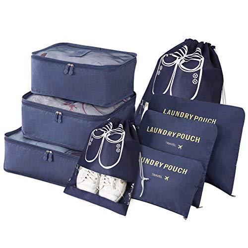 Vicloon Gepäck Organizer, 8-in-1-Set Koffer Organizer umfassen 2 * Schuhbeutel, 3 * Packwürfel und 3 * Aufbewahrungsbeutel, Reise Kleidertaschen für Kleidung...
