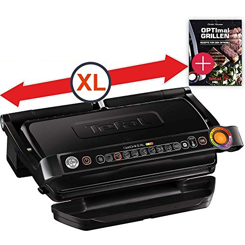 Tefal OptiGrill+ Plus XL-Grillfläche intelligenter Kontaktgrill+ Tefal Rezeptbuch, 9 Grillprogramme, Ideale Grillergebnisse blutig bis durchgebraten,...