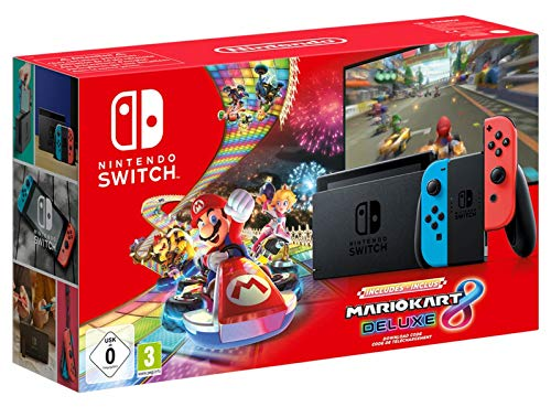 Nintendo Switch Neon Red / Neon Blue (2019 Edition) Mario Kart 8 Deluxe Bundle