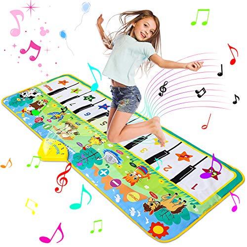 Luchild Piano Mat Tanzmatten Klaviermatte 130 x 48cm Musikmatte Pianomatte 8 Tierstimmen Klaviertastatur Spielzeug Musik Matte, Keyboard Matten Spielteppich für...