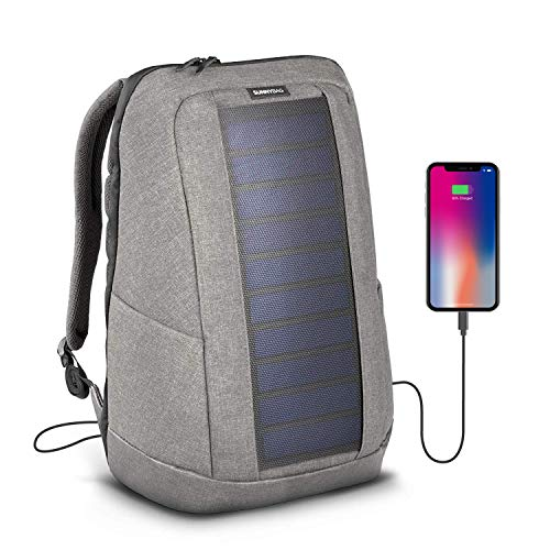 SunnyBAG Iconic Laptop Solar Rucksack mit 7 Watt Solarpanel als Ladegerät für Smartphones (iPhone, etc.), Tablet, Smartwatch + USB/dual-USB-Port, Farbe cool-Grey