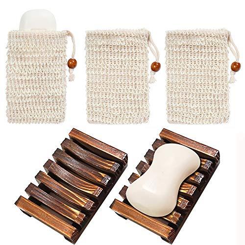 Chefic 2 Stück Seifenschale Holz Dusche mit 3 Stück Seifensäckchen, Handarbeit Seifenhalter Seifenablage aus Holz zu Küche Bad, Sisal Seifensäcke Seifenbeutel...