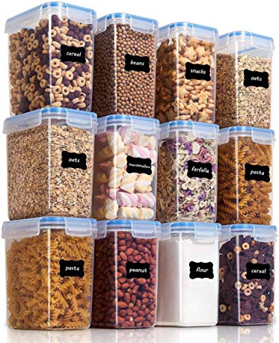 Vtopmart 1.6L Vorratsdosen Set, Müsli Schüttdose & Frischhaltedosen, BPA frei Kunststoff Vorratsdosen luftdicht, Satz mit 12, 24 Etiketten für Getreide, Mehl,...