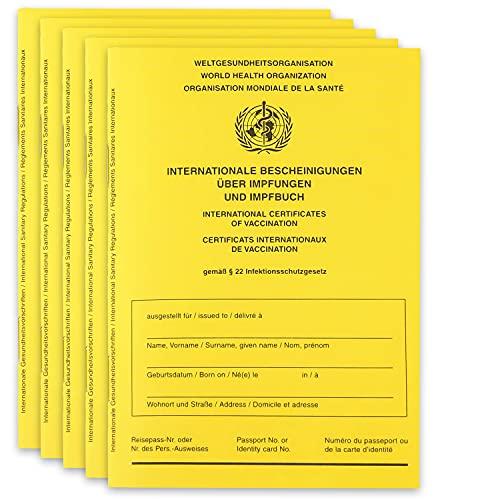 5X Impfpass inkl. Hülle – 2021 WHO Zertifiziert Impfausweis Impfbuch international - inkl. Covid-19 Seite + Impfpasshülle