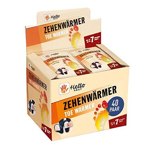 HELLO HEAT (Warmpack 40 Paar Zehenwärmer I Schuhheizung mit Wärmedauer von 7 Stunden I Sofort wärmende Einlegesohle I Fusswärmer für Schuhe, Ski-Schuhe &...