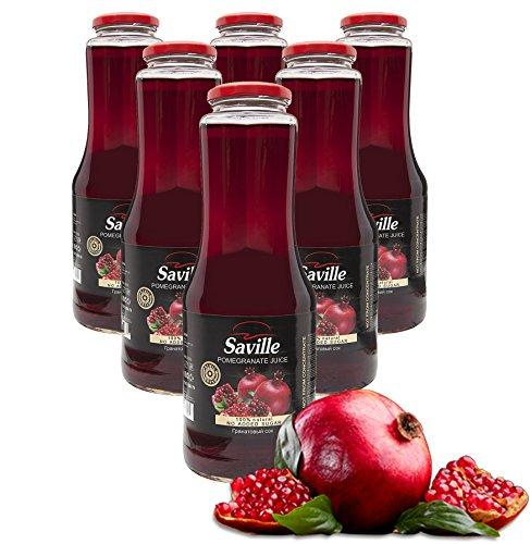 6Fl. x 1L Saville Granatapfel Direktsaft / 100% Granatapfelsaft / Muttersaft / Grenade juice