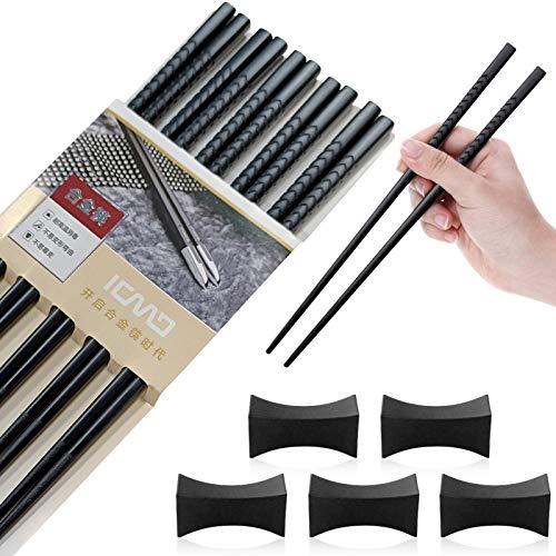 TaimeiMao Essstäbchen 5 Paar + 5 pcs Essstäbchenbblagen Japanische Chopsticks Schwarz chinesische stäbchen Alloy Chopsticks Stäbchen für Asiatisches Geschirr...