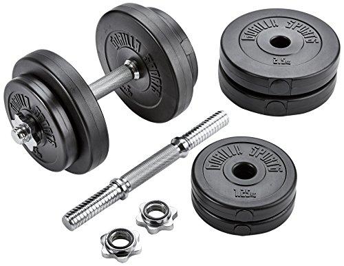 30/31mmGORILLA Sports Kurzhanteln 2er Set Kunststoff 20 kg – Hantelstangen, Gewichte und Sternverschlüsse gerändelt 30/31mm