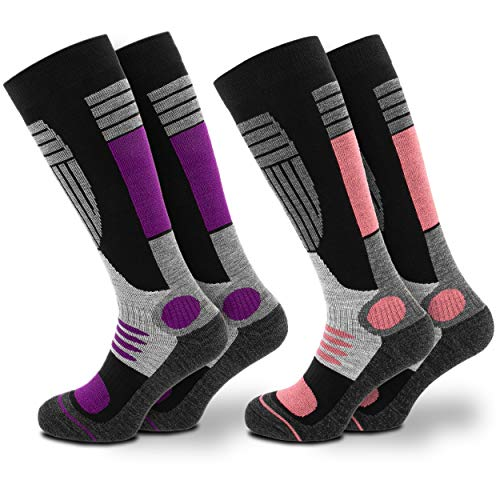 Occulto women's ski socks (2 pairs) with padding in different colors (39/42, purple-rose)