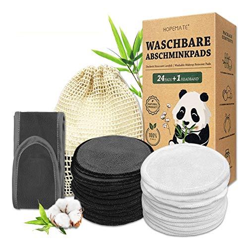 24 Stück Abschminkpads Waschbar, Wiederverwendbare Wattepads aus Bambus und Baumwolle mit Haarband + Wäschesack, Cotton Pads in 2 Farben Perfekt für...