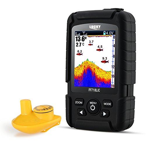 LUCKY Fishfinder Wireless Tragbarer Fisch-Finder 45 m/147feet Sonar Tiefe Fishfinder Ocean Fluss See Farbe Fishfinder