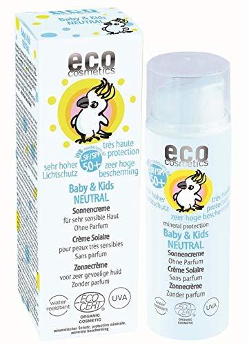 ekosmetiikka vauva aurinkovoide SPF50 + neutraali, vedenpitävä, vegaaninen, ilman mikro muovia, luonnonkosmetiikka kasvoille ja vartalolle, 1 x 50ml