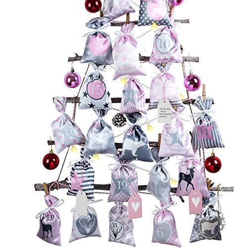 Adventskalender zum Befüllen Groß (12x20cm), 24 Stoffbeutel Kette zum selber Basteln und Aufhängen, 2020 Weihnachtskalender zum selberfüllen mit Rosa Grau Stoff...
