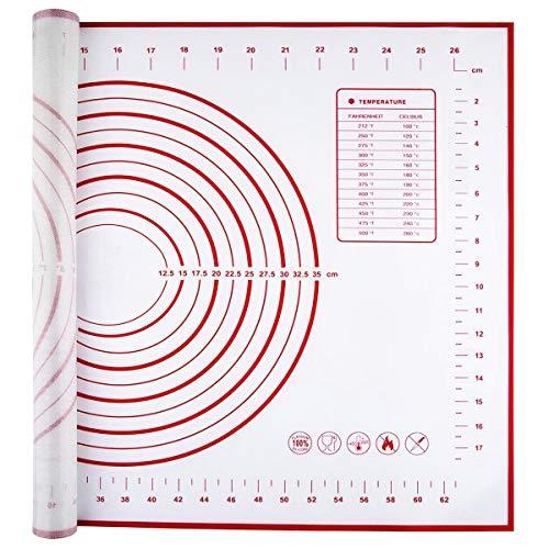 Aicoimy Silikon Backunterlage, 70x50cm Antihafte Backmatte rutschfeste Ausrollmatte mit Messung für Fondant Gebäck Pizza Plätzchen Teig