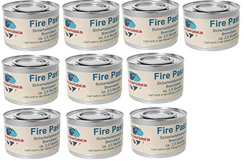 Gastro-Bedarf-Gutheil 10 x Sicherheitsbrennpaste je Dose 200 g Qualitätsprodukt Fire Paste Brennpaste Brenngel Brenndauer ca. 2,5 Std. für Chafing Dish...