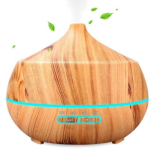 Aroma Diffuser, 400ml Humidifier Ultrasonic Fragrance Lamp, Ultra Quiet BPA-Free Oil Diffuser with 7 Colors LED for Baby, Bedroom, Room, Office, Yoga, Salon, Spa