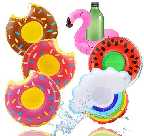 TK Gruppe Timo Klingler 6X Getränkehalter Mix aufblasbar Luftmatratze Schwimmring Schwimmreif für Pool, Wasser, Cocktailhalter, Bierhalter, Becher, Dosenhalter,...