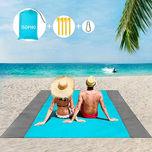 ISOPHO picnic blanket 200 x 210 cm beach blanket waterproof, beach mat 4 fastening corners beach blanket sand free / picnic for the beach, camping, hiking and ...