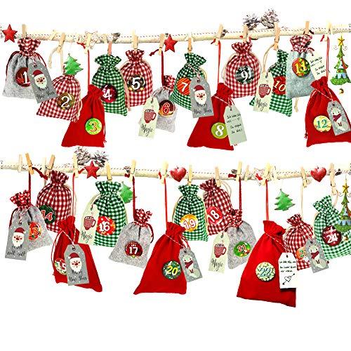 Adventskalender zum Befüllen, Weihnachtskalender Stoffsäckchen zum Selberfüllen, 24 Geschenksäckchen Kette zum selber befüllbar und Aufhängen, Jutesäckchen...