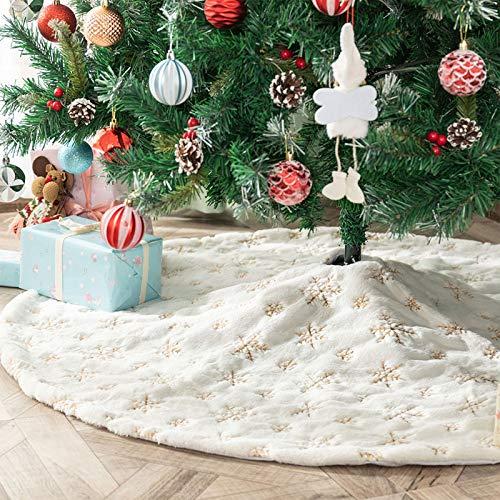 Deggodech 90cm Weihnachtsbaum Röcke Weißer Weihnachtsbaum Rock Weiß Plüsch Weihnachtsbaumdecke mit Goldener Schneeflocke Fell Christbaumständer für...
