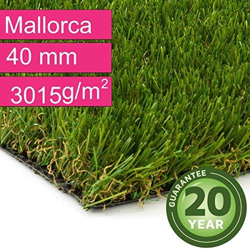 Kunstrasen Rasenteppich Mallorca für Garten - Florhöhe 40 mm - Gewicht ca. 3015 g/m² - UV-Garantie 20 Jahre (DIN 53387) - 2,00 m x 0,50 m | Rollrasen |...
