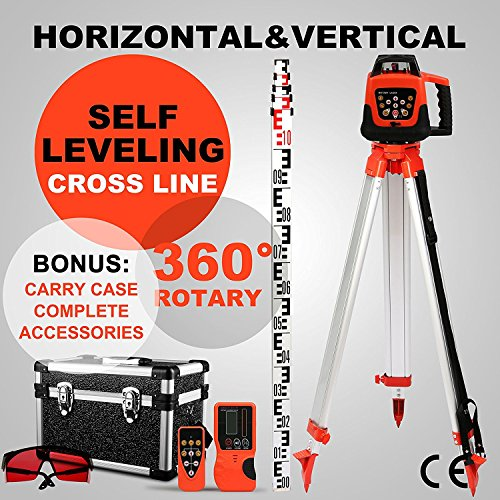 BuoQua Rotary Laser Self Leveling Construction Laser with Receiver Line Laser 360 Degree with Remote Control and Laser Goggles + 1,65m Aluminum Tripod + 5M ...