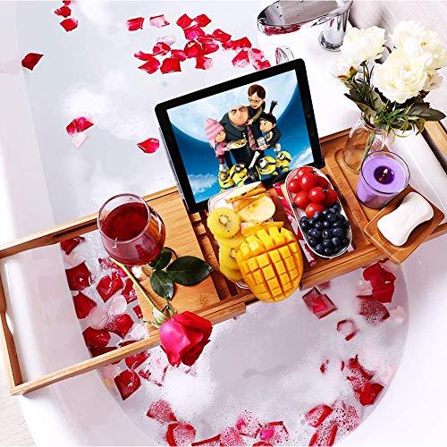 VPCOK Badewannen ablagen verstellbare Bambus Badewanne Tablett, Badewanneneinsatz, Badetisch für Tablett, Smartphone, Buchrahmen, Weinglashalter, präsentierbares...