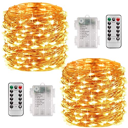 Fairy Lights Battery, 2er 10M 100 LED Fairy Lights 8 Modes Outdoor Lighting Battery Operated Copper Wire Waterproof IP68 with Remote Control and Timer for ...