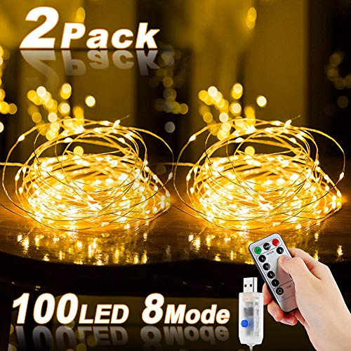 Led Fairy Lights, Nasharia 2 Pieces 10M 100LED USB Fairy Lights Wire Waterproof with Switch, Copper Wire Mood Fairy Lights for Room, Indoor, Christmas, Christmas