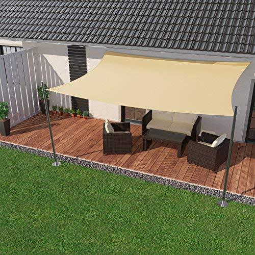 IBIZSAIL markiisin vettä hylkivä aurinkosuoja puutarhaparvekkeelle, valmistettu PES-suorakulmaisesta 400 x 300 cm: n kermasta (sis. Kiristysköydet)