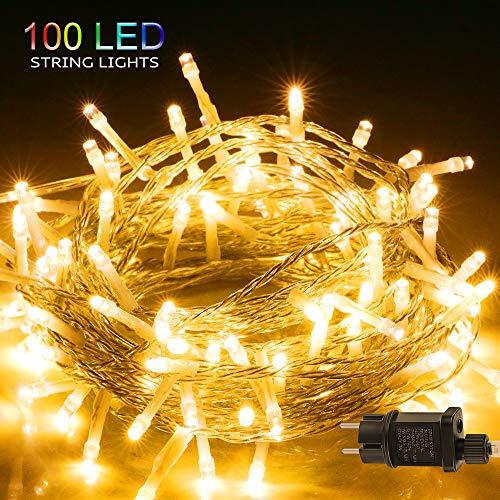 LED Lichterkette, BIGHOUSE 100 LEDs 10M Lichterkette Außen mit Stecker Warmweiß, Wasserdichte IP44 für Party, Hochzeit, Geburtstag, Terrasse, Innen/Außen...