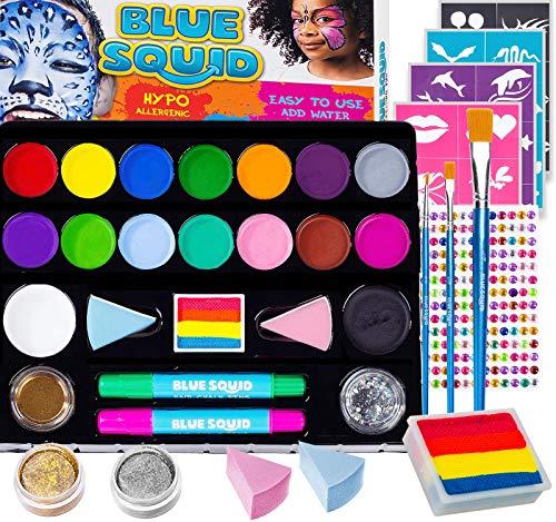 Kinderschminke Set Party Set von Blue Squid 49 teiliges 17-Farben für lebendige Körperbemalungen Haarkreide-Stifte, Gems, Schablonen, Glitzer Schminke,...