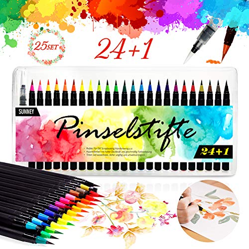 Pinselstifte Set, 24 Aquarell Pinselstifte + 1 Wassertankpinsel, Brush Pen mit flexiblen Nylonspitzen Handlettering Stifte für Künstler, Bullet Journal,...