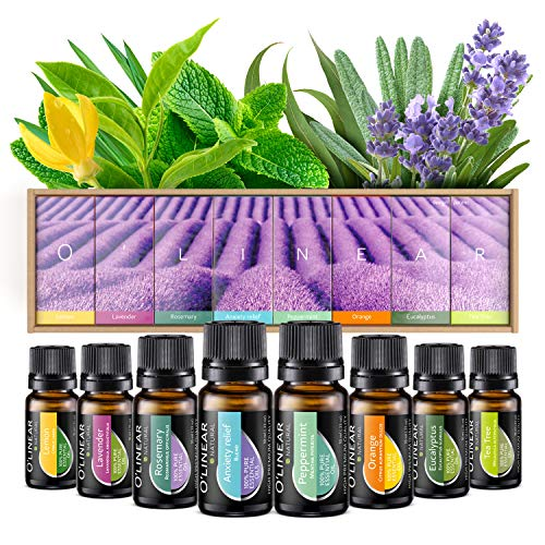 Essential oils set (8x10ml) - essential oil for aromatherapy - fragrance oil for diffusers - 100% pure oils - lavender, peppermint, rosemary, orange, tea tree, ...
