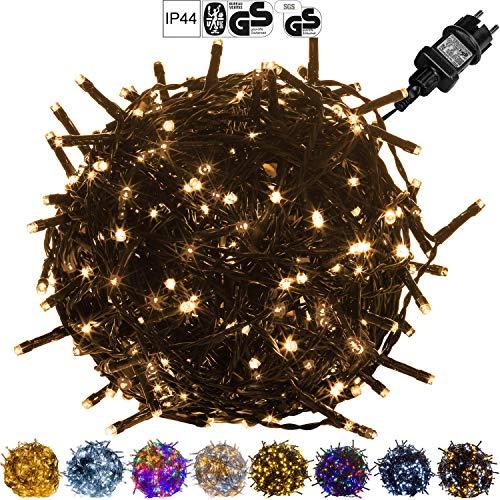 VOLTRONIC LED Lichterkette für innen und außen, Größenwahl: 50 100 200 400 600 LEDs, warmweiß/kaltweiß/bunt/warmweiß+kaltweiß, GS geprüft, IP44, optional...