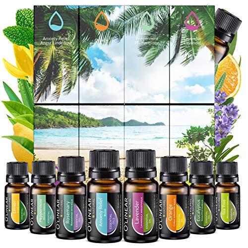 Eteeristen öljyjen sarja (8x10ml) - eteerinen öljy aromaterapiaan - hajusteöljy hajusteille - 100% puhdasta öljyä - laventeli, piparminttu, rosmariini, appelsiini, teepuu, ...